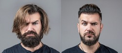 Collage man before and after visiting barbershop, different haircut, mustache, beard. Male beauty, comparison. Shaving, hairstyling. Beard, shave before, after. Long beard Hair style hair stylist