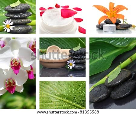 collage massage stone concept beauty