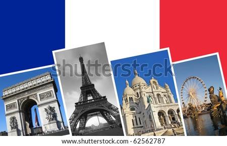 Collage mit den Sehensw�¼rdigkeiten von Paris. Arc de Triomphe, Eiffelturm, Sacre Couer & Place de la Concorde