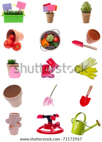 Collage Montage of Garden Items Isolated on White.