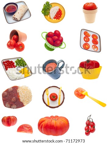 Collage Montage of Tomato Images Isolated on White.