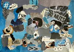 collage mood board with blue colors . The sheet is made of teared old paper of magazines and printed matter