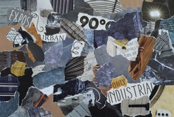 collage mood board with industrial concept with ice blue, grey, black and gray, and blue with metal and iron elements