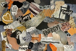 Collage mood board with natural colors and a zen spiritual concept . The sheet is made of teared old waste paper of magazines and printed matter. Results in creative modern art.