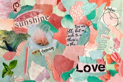 collage mood board with pink, turquoise summer love colors concept,. The sheet is made of teared old paper of magazines and printed matter