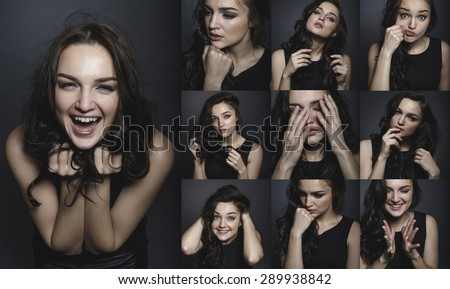 Collage. Mosaic. Happy girl excited. Young woman smiling very happy surprised holding head being amazed on grey background. Funky young Caucasian female model joyful on grey background.
