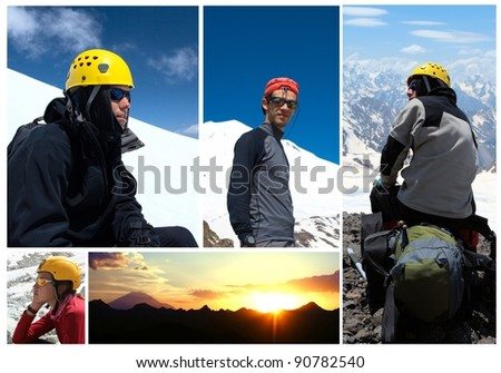collage - mountains and hikers  with blue sky in the background.