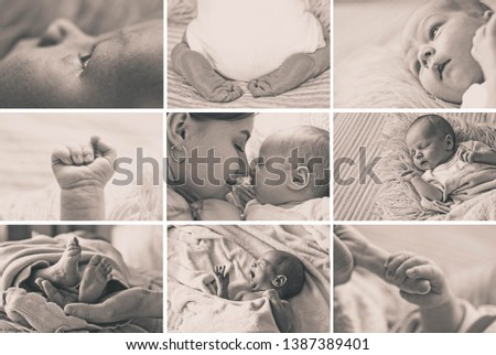 Collage Newborn baby and mother. Love baby. Happy mother's day  Stock fotó ©