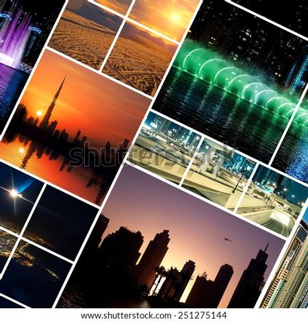 Collage night photos from Dubai. UAE