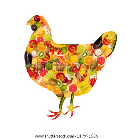 collage of a chicken, composed of fruit and vegetables
