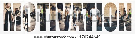 Collage of a diverse group of fit young people doing weightlifting exercises together during a gym workout with an overlay of the word motivation