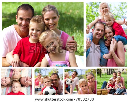 Collage of a family enjoying moments together in a park