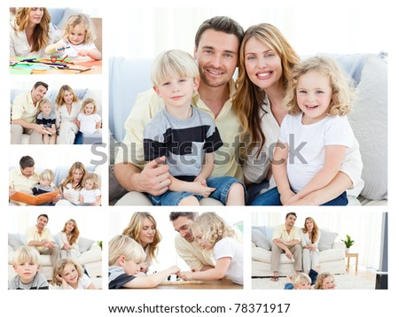 Collage of a family spending goods moments together and posing at home - stock photo