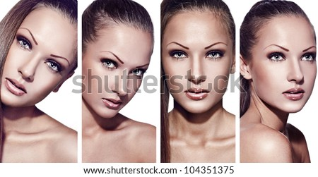 collage of a fashion model with perfect clean skin and beautiful makeup