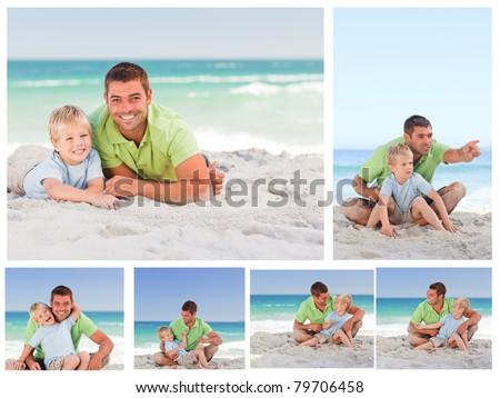 Collage of a father and his son on the beach