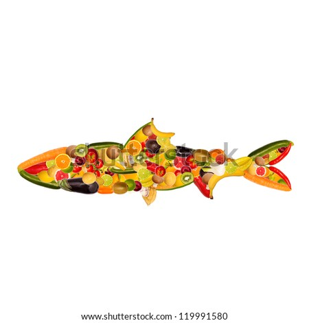 collage of a fish, composed of fruit and vegetables