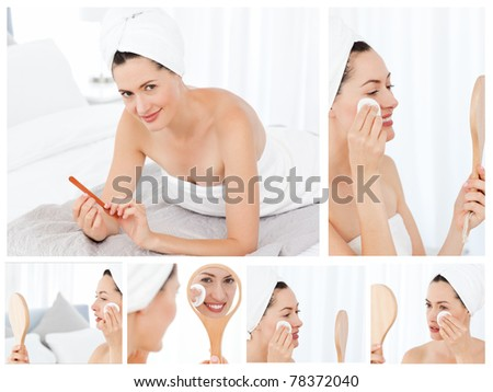 Collage of a gorgeous brunette woman putting make-up on