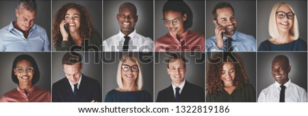 Collage of a group of ethnically diverse businessmen and businesswomen smiling confidently or using their cellphones