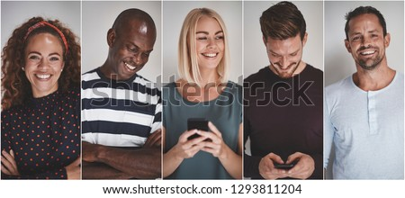 Collage of a group of ethnically diverse young entrepreneurs smiling confidently against a gray background