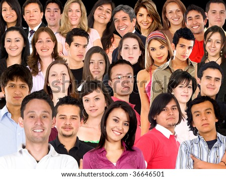 Collage of a large group of people faces
