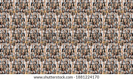 Collage of a lot of happy multiracial people looking at the camera. Many smiling multiethnic faces of successful business people on a screen of computer or laptop