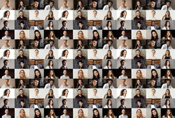 Collage of a lot of happy people.Headshots collection, collage mosaic. Many lot of multicultural different male and female smiling faces looking at camera. Many smiling faces. High quality photo
