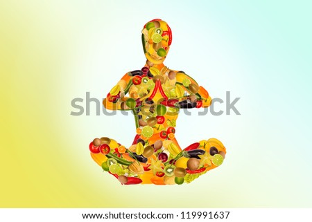 Collage of a meditating woman from fruit and vegetables, colored background