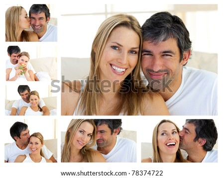 Collage of a middle-aged couple enjoying the moment at home