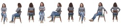 collage of a woman sitting on a chair in white background, profile, front and back