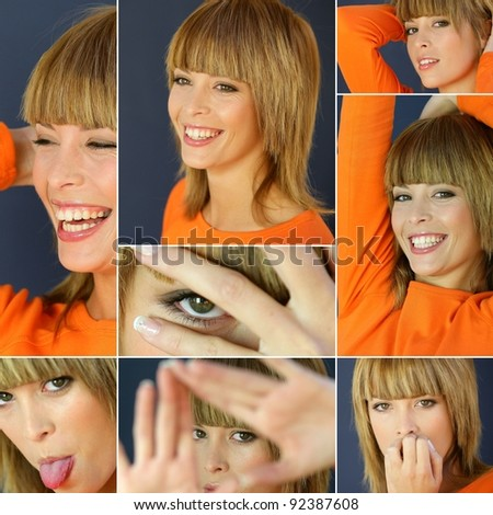 Collage of a woman wearing an orange shirt