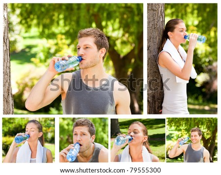 Collage of a young couple drinking water after the gym in a park
