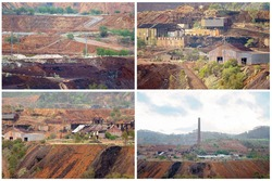 Collage of abandoned buildings at the closed down Mount Morgan gold mine site falling into disrepair