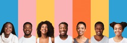 Collage Of African American Millennial People Portraits On Bright Colorful Backgrounds. Collection Of Happy And Beautiful Black Female And Male Headshots. Panorama