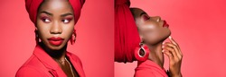 collage of african american young woman in stylish outfit and turban isolated on red, banner