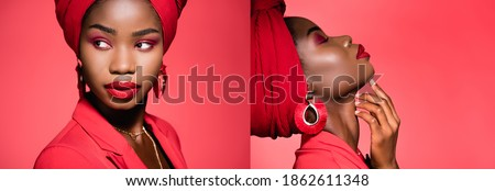 collage of african american young woman in stylish outfit and turban isolated on red, banner Stockfoto ©