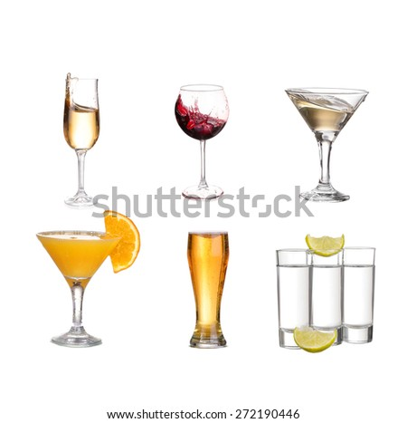 Collage of alcohol drinks. isolated on white #272190446