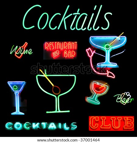 Collage of alcoholic beverages related neon sign isolated on black background