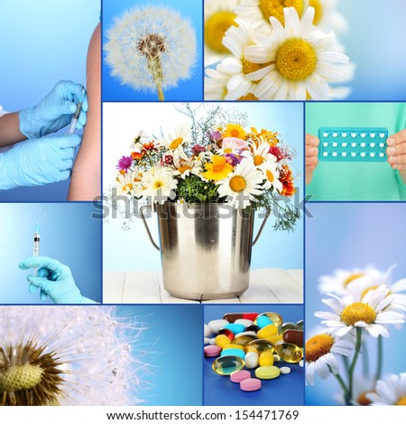 Collage of allergy theme