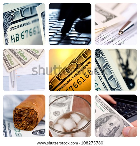 Collage of American hundred dollar-bills - contemporary business concept