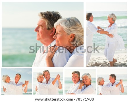 Collage of an elderly couple sharing good moments together on a beach