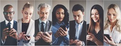 Collage of an ethnically diverse group of businessmen and businesswomen reading and sending text messages on cellphones