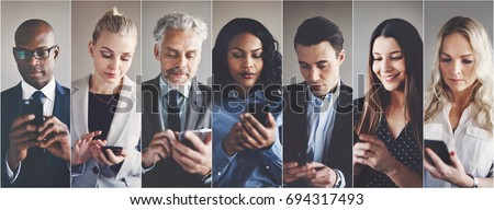 Collage of an ethnically diverse group of businessmen and businesswomen reading and sending text messages on cellphones #694317493