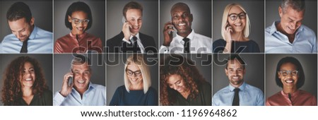 Collage of an ethnically diverse group of businessmen and businesswomen smiling confidently or using their cellphones #1196964862