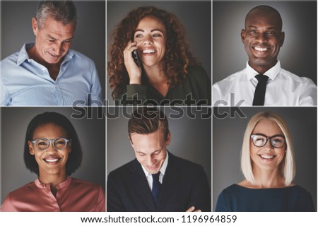 Collage of an ethnically diverse group of professional businessmen and businesswomen smiling confidently #1196964859