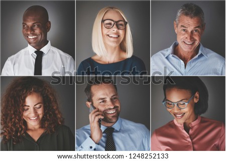 Collage of an ethnically diverse group of smiling businessmen and businesswomen #1248252133