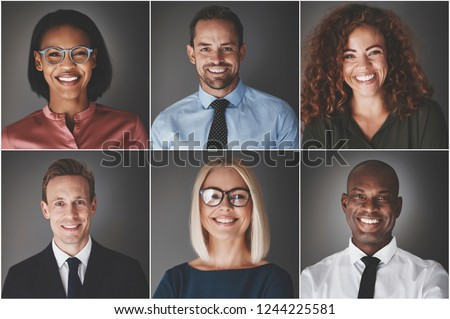 Collage of an ethnically diverse group of smiling businessmen and businesswomen against a gray background #1244225581