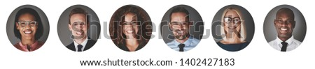 Collage of an ethnically diverse group of smiling businessmen and businesswomen in a circular frame against a gray background #1402427183