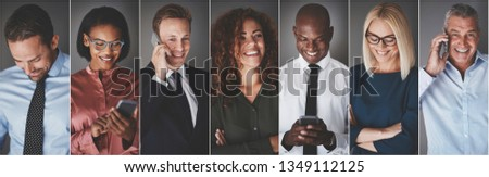 Collage of an ethnically diverse group of smiling businesspeople text messaging or talking on their cellphones