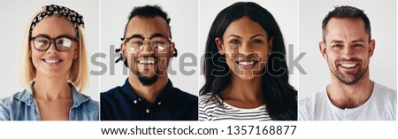 Collage of an ethnically diverse group of smiling young entrepreneurs standing against a white background