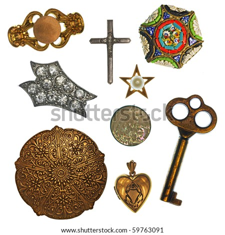 Collage of antique jewelry and trinkets for design element